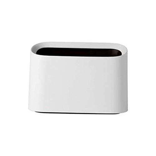 (NszzJixo9 Mini Countertop Trash Can,Modern Plastic Square Mini Wastebasket Trash Can Dispenser with Swing Lid for Bathroom Vanity Countertop or Tabletop, (White))