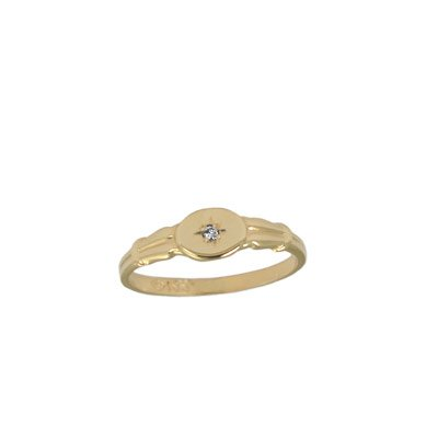 Size 3 Toddlers And Children 14K Yellow Gold Diamond Ring For Girls by Loveivy