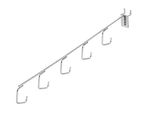 Chrome 5 J-Hook Waterfall for Pegboard - Pack of 5