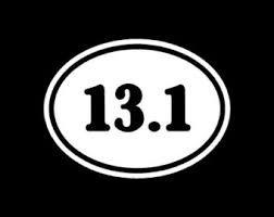 13.1 Half Marathon Euro Oval (2 PACK) Run Marathon Race Vinyl Decal Sticker|WHITE|Cars Trucks SUV Laptop Tablet Wall Art|5