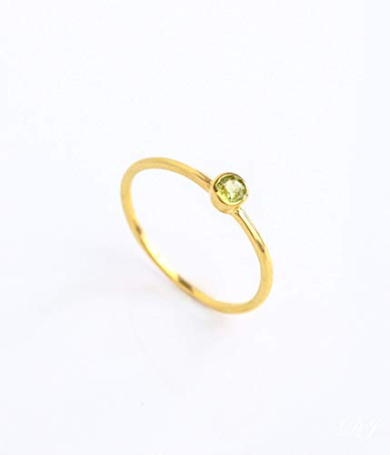 (Tiny Peridot Gemstone Set on Dainty Thin Ring Band, Simple Stackable August Birthstone Ring)