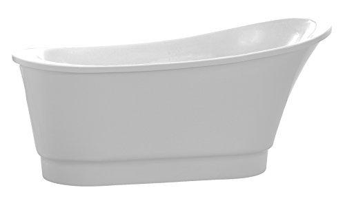 ANZZI Prima Glossy White Acrylic Oval Flat Bottom Freestanding bathtub | Luxury Soaking Deep Large Bathroom Round Standing Tub with Built in Overflow and Drain | FT-AZ095 -