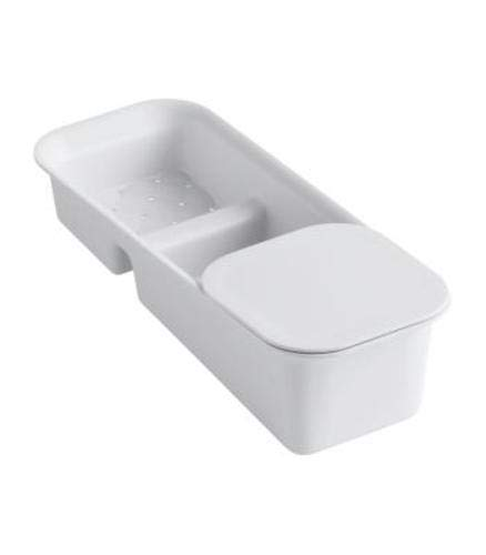 KOHLER K-6239-0 Riverby Rinsing Colander with Convenience Cutting Board, White