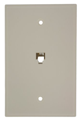 Leviton 40549-T Type 625B4 Telephone Midway Wall Plate Flush Mount Jack, 1 Modular 6P4C Jack, Screw Terminals, Light Almond