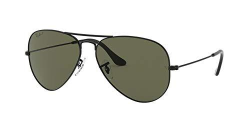 (Ray-Ban RB3025 Aviator Large Metal Sunglasses,58mm,Matte Black/Polar Green )