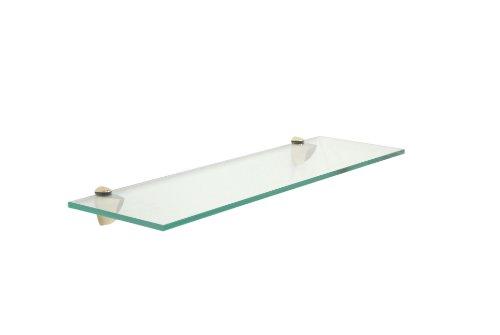 Floating Glass Bathroom Shelf Finish: Brass, Size: 18