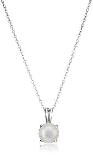 Amazon Essentials Sterling Silver Round Cut Genuine Pearl Birthstone Pendant Necklace (June), ()