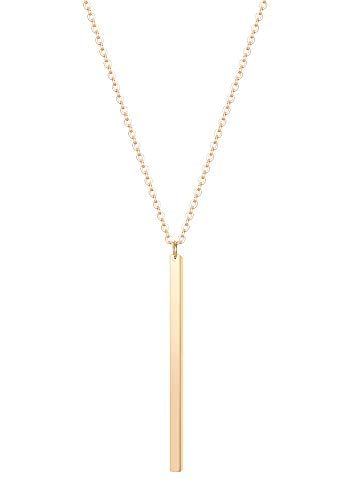 CULOVITY Simple Bar Pendant Necklace Jewelry Long Lariat Chain for Women 2.4
