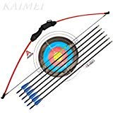 (kaimei 43 Inch Recurve Bow Archery Red Limbs for Youth Beginner Practice and Outdoor Shooting Right and Left Hand with 6 Fiberglass Arrows and 2 Target Paper)