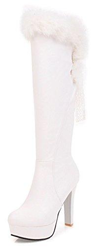 Boots Platform Knee High White (Aisun Women's Elegant Lace Up Round Toe Dressy Platform High Heel Knee High Boots With Faux Fur (White, 8 B(M) US))