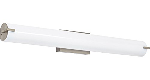 Light Fluorescent Bath Bar - NEW Modern Frosted Bathroom Vanity Light Fixture | Contemporary Sleek Dimmable LED Cylinder Bar Design | Vertical or Horizontal Tube with Brushed Nickel Wall Sconce | 3000K Warm White