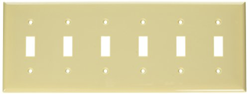 Morris 81060 Lexan Wall Plate for Toggle Switch, 6 Gang, Ivory