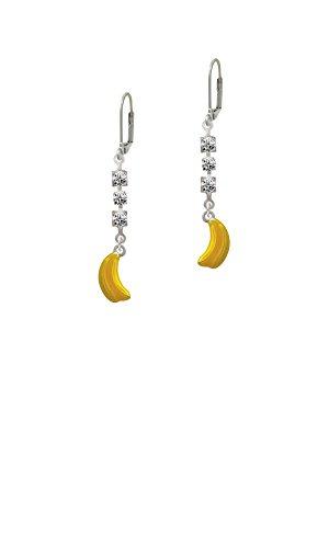3-D Yellow Enamel Bananas - Crystal Madison Leverback Earrings