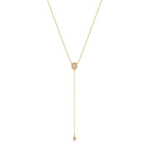 GELIN 14k Solid Gold 0,03 ct Diamond Teardrop Pendant Y Necklace for Women, Surprise Fine Jewellery,18 inch Diamond Drop Pendant Necklace