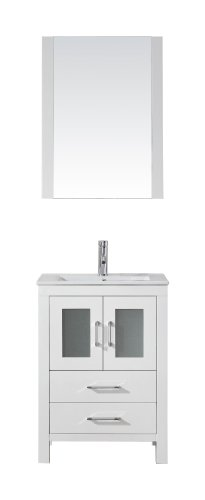 Virtu Usa Ks 70024 C Wh Modern 24 Inch Single Sink Bathroom Vanity Set With Polished Chrome Faucet  White