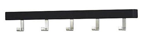 Ikea Tjusig Black 5 Hook Coat Hanger Clothes Rack Hats Towels Scarves Wall or Over Door Wooden by Tjusig