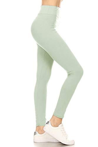 LYR128-SEAFOAM Yoga Solid Leggings, One -