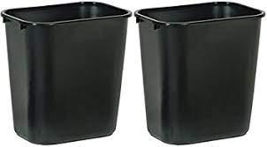 Rubbermaid Commercial Products RQZLOP 295600BK Deskside Plastic Wastebasket, Rectangular, 7 gal, 2 Pack