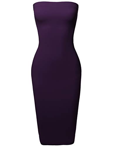 Sexy Scuba Crepe Tube Top Body-Con Tight Fit Midi Dress Plum M