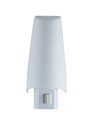 GE Incandescent Night Light, White, Shade, Plug-In, On/Off, 52194