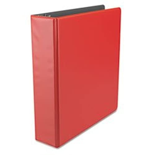 "(3 Pack Value Bundle) UNV34403 Suede Finish Vinyl Round Ring Binder, 2"" Capacity, Red"