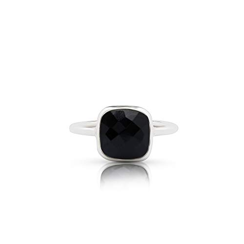 Square Onyx Ring - Koral Jewelry Black Onyx Square Vintage Ring Round Stone 925 Sterling Silver Boho Chic US Size 6 7 8 9 (8)