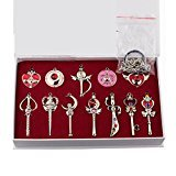 Sailor Moon Pretty Guardian 12PCS Cosplay Keychain Necklace Toys Silver -