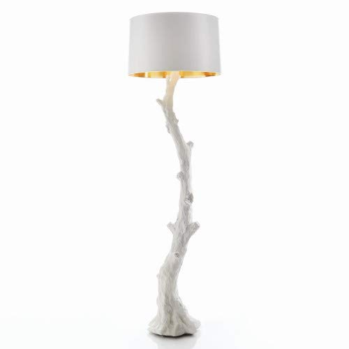 Gold Branch Tree (Modern Twisted Branch Floor Lamp | White Shade Gold Twig Tree Curved Faux Bois)