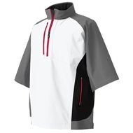 FootJoy DryJoys Tour XP Short Sleeve Rain Shirt (Grey/White/Black/Red, Large)
