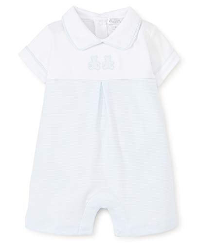 s Infant Bear Cubs Blue Stripe Short Playsuit with Collar-White with Blue-0-3 Months ()