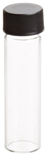 JG Finneran 88020-1760 Borosilicate Glass Dram Sample Vial with Solid Top Cap and PTFE/F217 Septa, Clear, 2 Dram Capacity, 17mm Diameter x 60mm Height (Case of 100) (Borosilicate Sample Glass Vials)