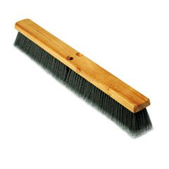 Proline Brush Gray Flagged Polypropylene Floor Push Broom Brush Head, Hardwood Block, 24'' Wide