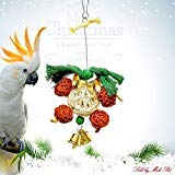 Mrli Pet Christmas Bird Toys, Parrot Chew Toys with Colorful Rattan Ball Christmas Bells Toy Xmas Bird Cage Decoration