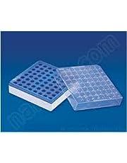 Aaka Scientific Inc, Centrifuge Tube Freezer Storage Box 100 Well, Holder for 1.5/2.0 ml Microcentrifuge Tube Case Box,Laboratory, Blue and White Colour