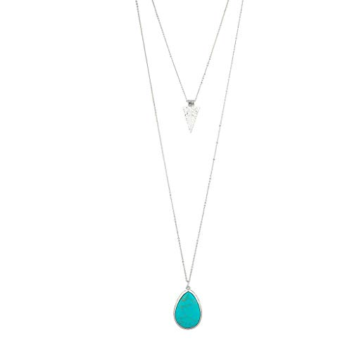 (Lux Accessories Silver Tone Turquoise Stone Teardrop Arrowhead Double Layered Necklace Set)