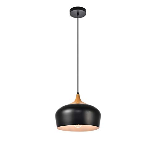 Elegant Lighting Nora Collection Pendant D11.5in H9in Lt:1 Black and Natural Wood Finish