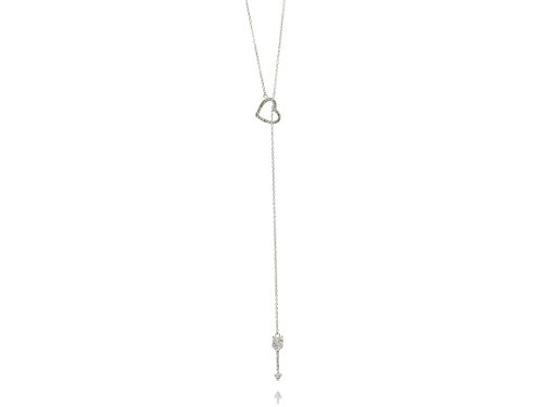 Beaute Fashion .925 Sterling Silver Open Heart and Arrow Simulated Diamond Y Necklace CZ Lariat Pendant (Medium Lariat)