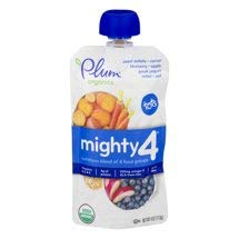 6 Pouches of Plum Organics Mighty 4 Blends Sweet Potato, Carrot, Blueberry, Apple, Greek Yogurt, Millet, Oat, 4oz ea