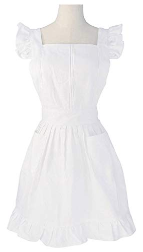 LilMents Retro Adjustable Ruffle Apron Kitchen Cooking Baking Cleaning Maid Costume (White)