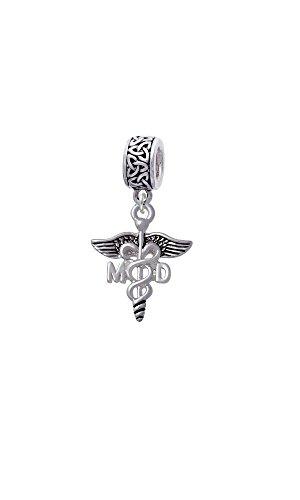 Silvertone Caduceus - MD - Celtic Knot Charm Bead ()