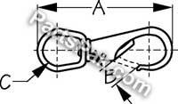 Sea Dog 1361331 BRONZE SWIVEL EYE SNAP SIZE-3 SWIVEL EYE BOAT SNAP