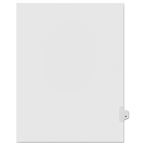 Kleer-Fax Letter Size Individually Numbered 1/25th Cut Side Tab Index Dividers, 25 Sheets per Pack, White, Number 47 (91047)