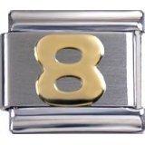 Toc Stainless Steel Number 8 Italian Charm For Italian Bracelet