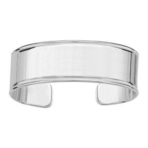 1001 Bijoux - Bracelet argent passivé massif plat avec godrons largeur 20mm