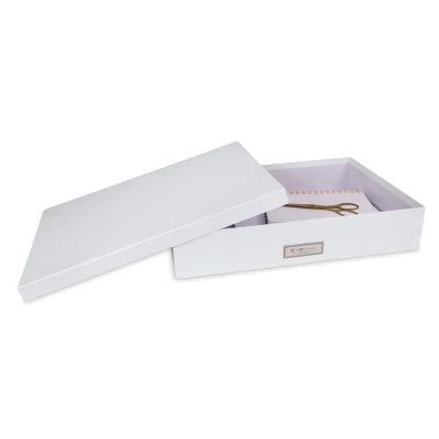 Bigso Sverker Paper Laminate Document Storage Box, Thin Label Frame, White - Small Lidded Box