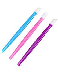 Buorsa 24 Pcs Rubber Tipped Plastic Handle Nail Cuticle Pusher Nail File Pusher Cleaner