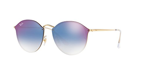 Ray-Ban Metal Unsiex Non-Polarized Iridium Square Sunglasses, Gold, 58 - Ray Blaze Round Ban