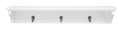 Kiera Grace Finley Wall Shelf with 3 Metal Hooks, 24-Inch by 4.25-Inch, White