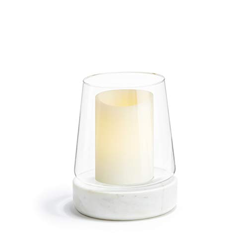 Glass Hurricane Candle Holder with Marble Base - 9 Inch Height, Large, Fits Up to 4 Inch Diameter Pillar Candles, Modern Style for Wedding Centerpieces, Housewarming Gift or Home Decor
