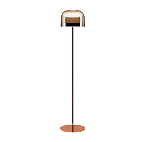 FORWIN Floor Lamp w- Italian Post-Modern Floor Lamp Living Room Bedroom Glass Lampshade Reading Standing Light Indoor Lighting (Color : Rose Gold, Size : 24135cm)